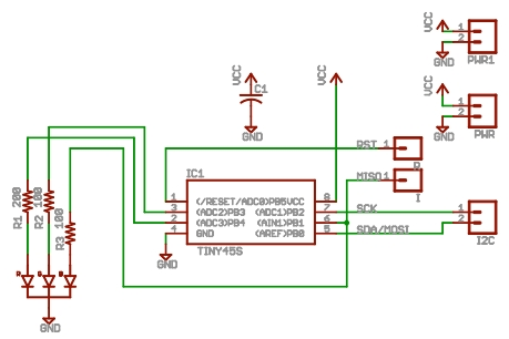 Attiny85 BlinkM schematic