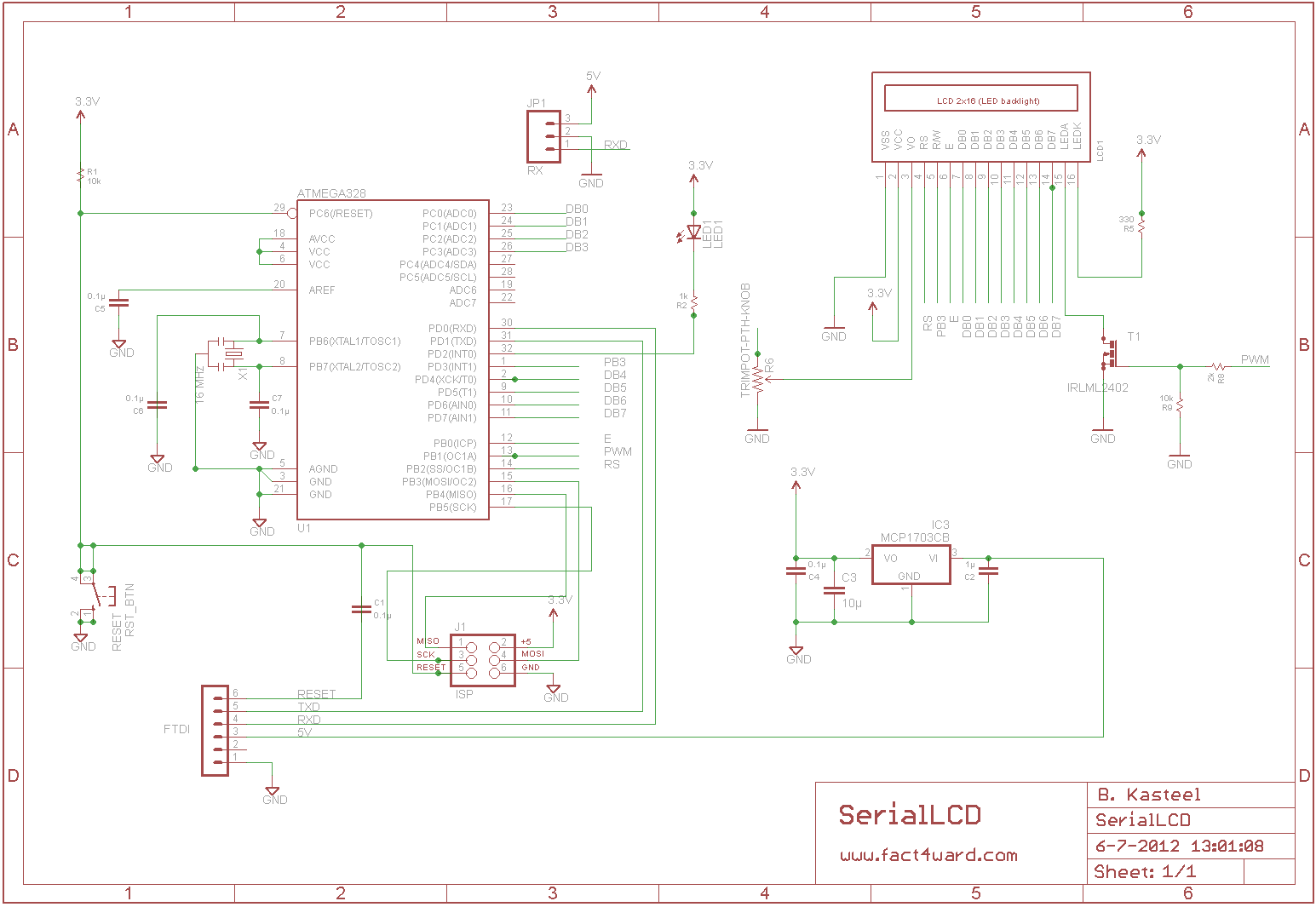 Serial Lcd For The Arduino With 3 Pin Connection Charlieplexing Led Amp Code Seriallcdschematic Seriallcdbrd